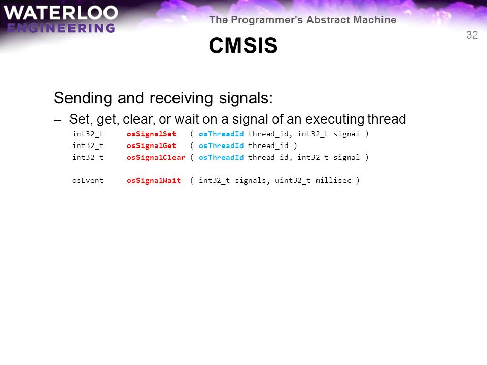 CMSIS Sending and receiving signals:
