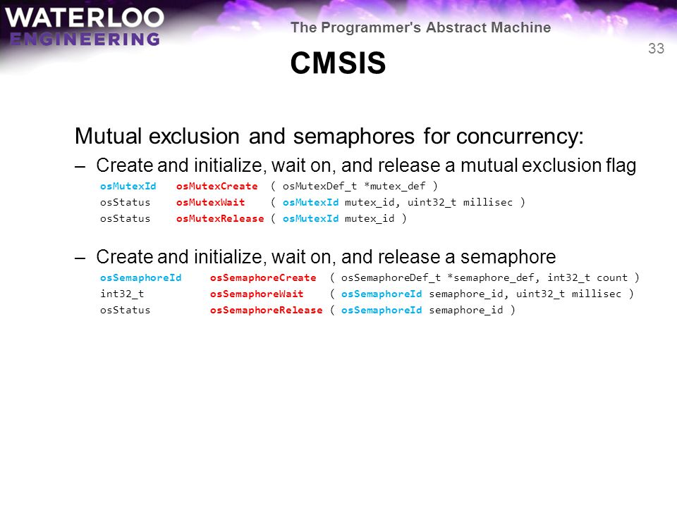 CMSIS Mutual exclusion and semaphores for concurrency: