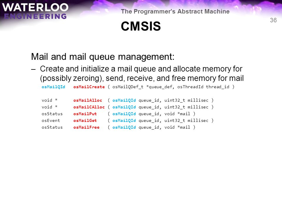 CMSIS Mail and mail queue management: