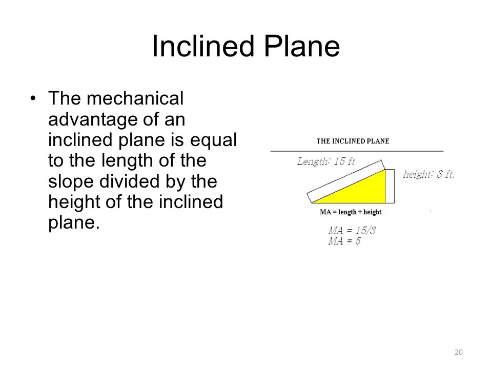 Inclined Plane The mechanical advantage of an inclined plane is equal to the length of the slope divided by the height of the inclined plane.