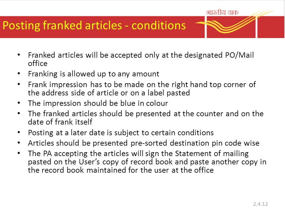 Posting franked articles - conditions
