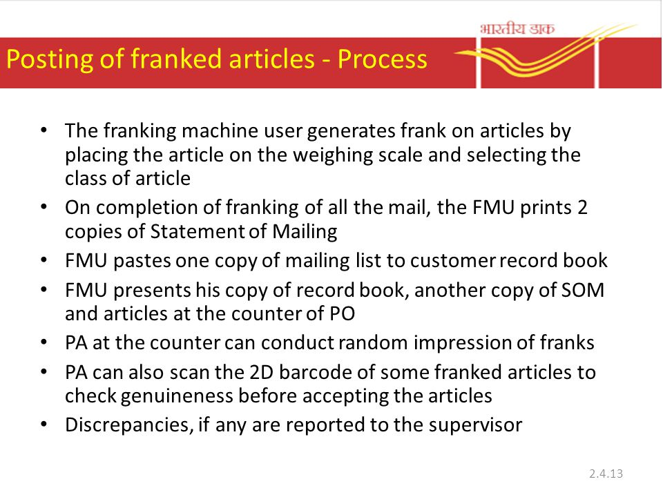 Posting of franked articles - Process