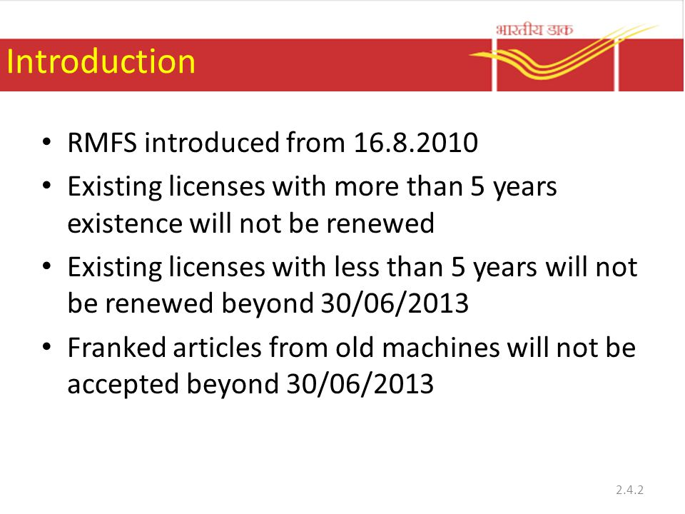 Introduction RMFS introduced from 16.8.2010