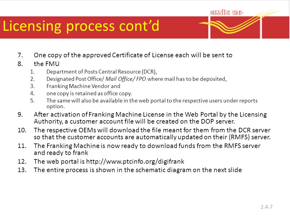 Licensing process cont'd