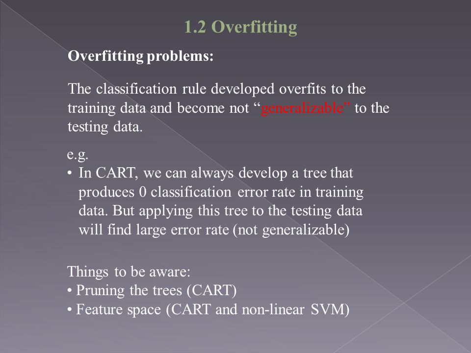 1.2 Overfitting Overfitting problems: