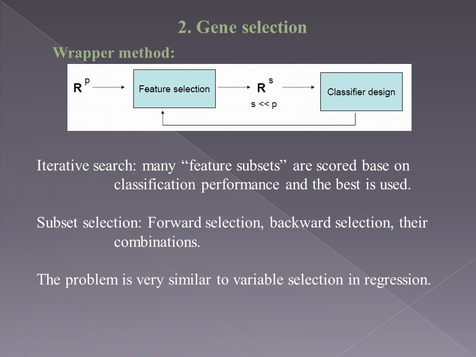 2. Gene selection Wrapper method: