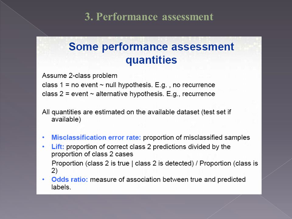 3. Performance assessment
