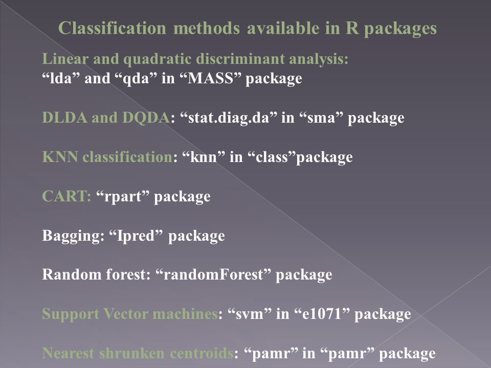 Classification methods available in R packages