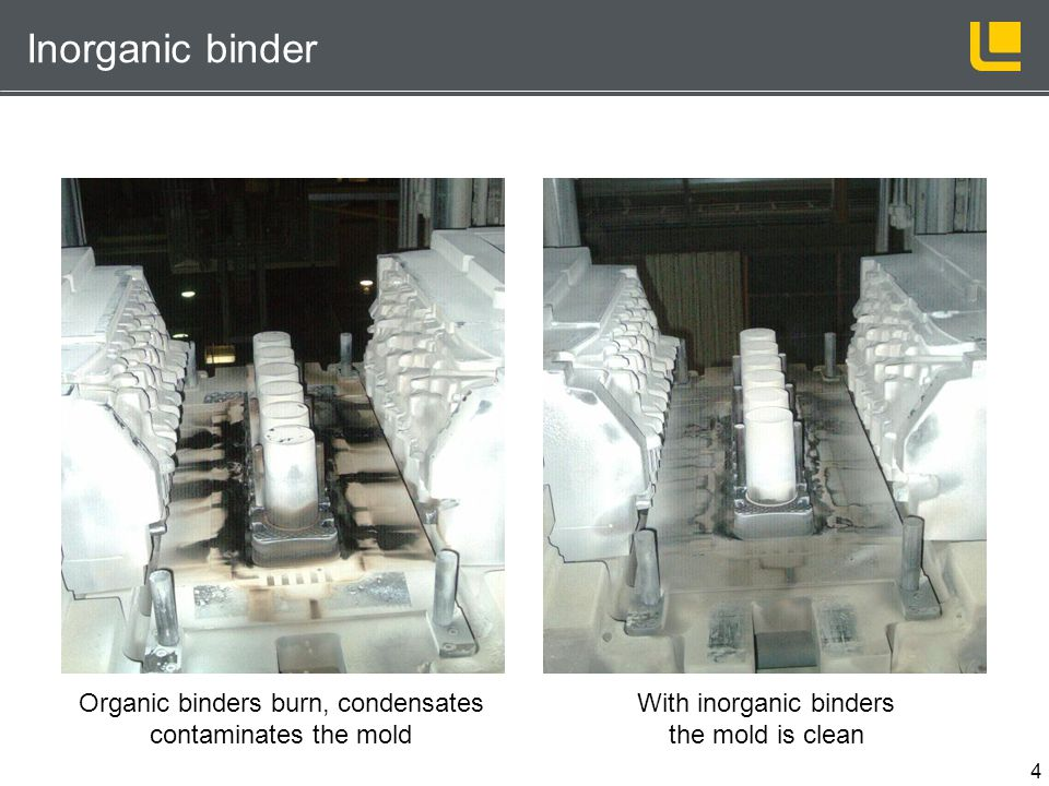 Inorganic binder Organic binders burn, condensates contaminates the mold. With inorganic binders the mold is clean.