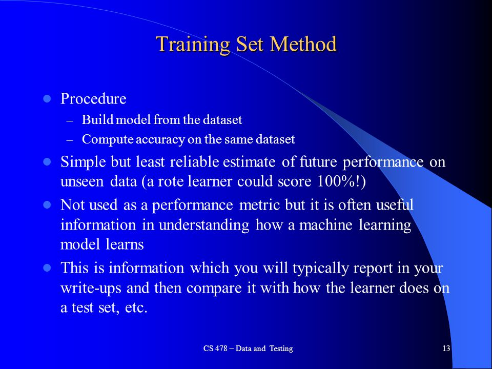 Training Set Method Procedure