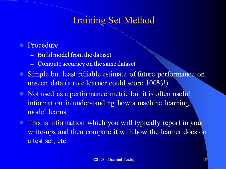 Training Set Method Procedure