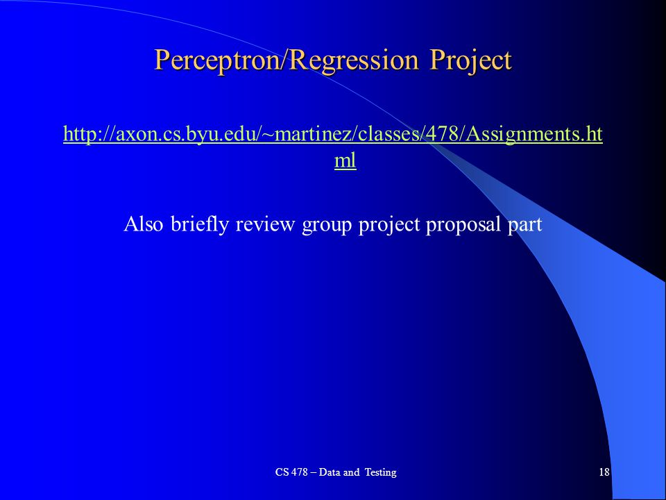 Perceptron/Regression Project