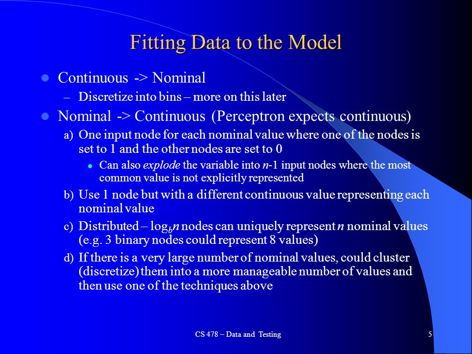 Fitting Data to the Model