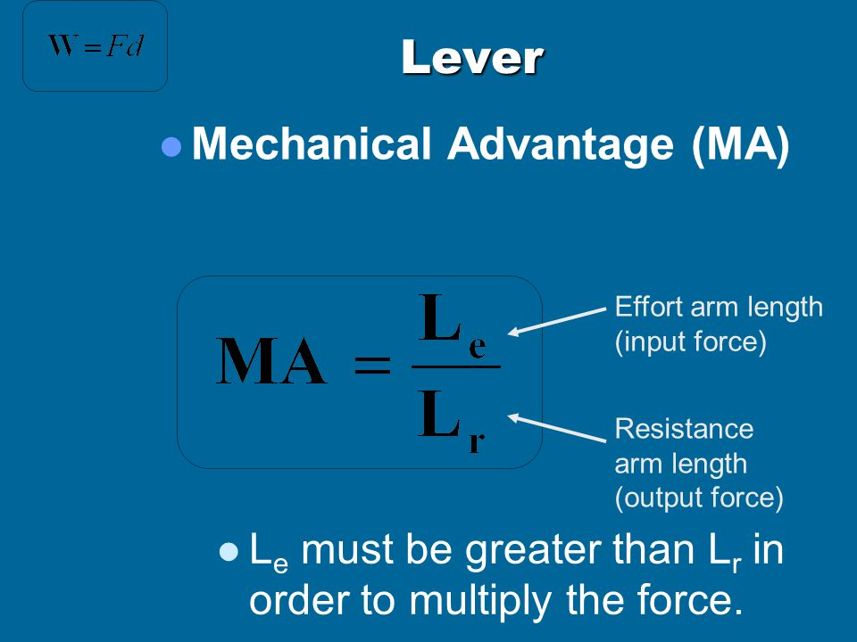 Lever Mechanical Advantage (MA)