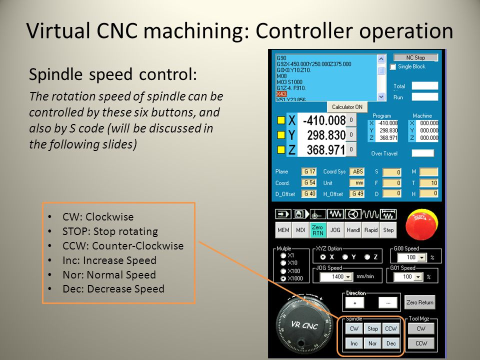 Virtual CNC machining: Controller operation