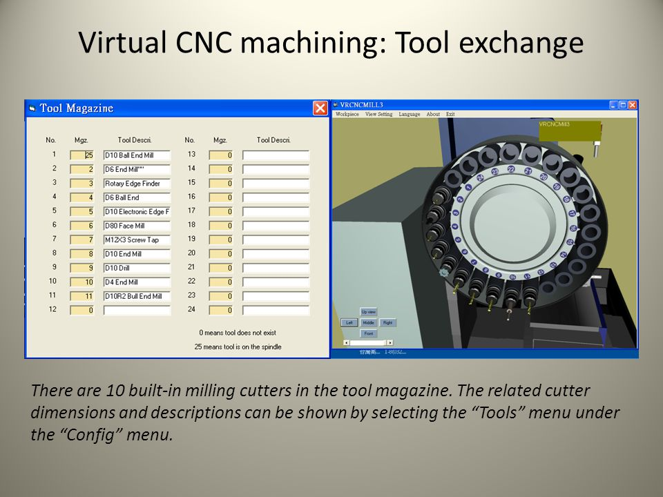 Virtual CNC machining: Tool exchange