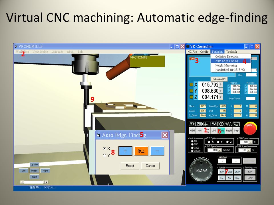 Virtual CNC machining: Automatic edge-finding