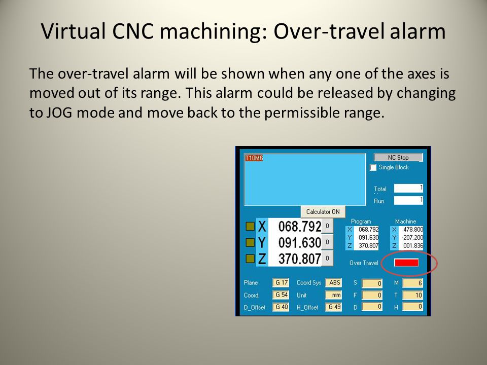 Virtual CNC machining: Over-travel alarm