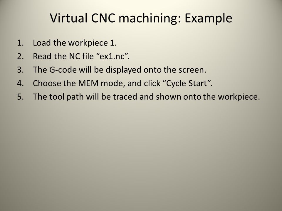Virtual CNC machining: Example