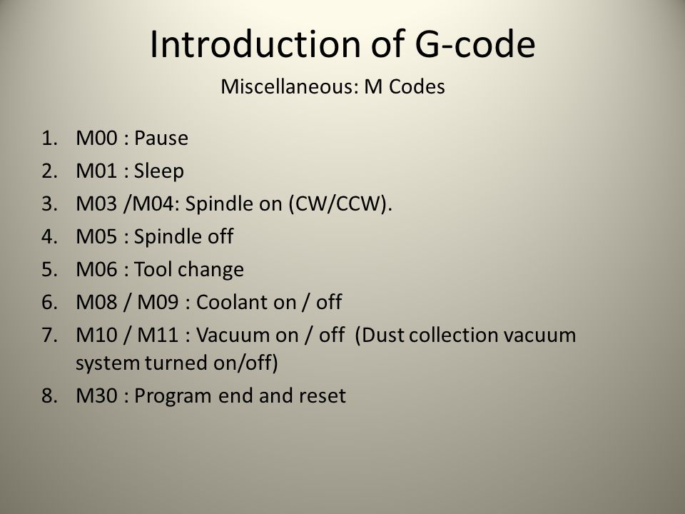 Introduction of G-code