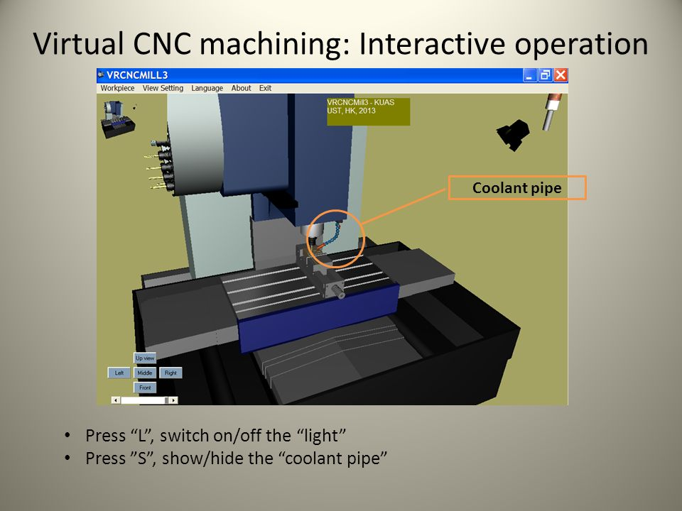 Virtual CNC machining: Interactive operation