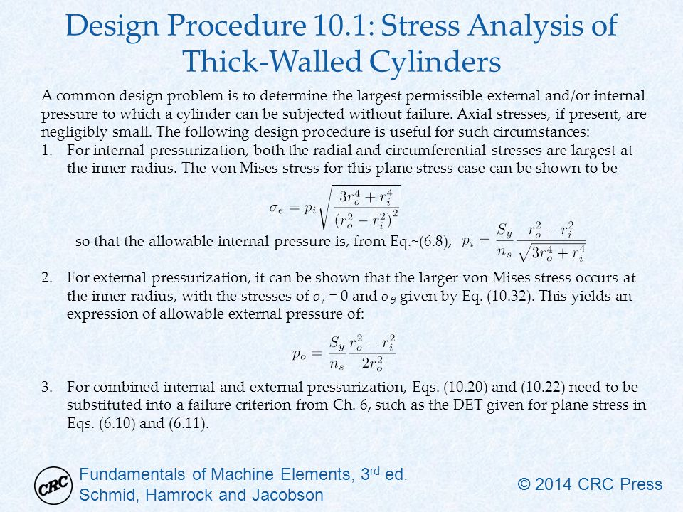 Design Procedure 10.1: Stress Analysis of Thick-Walled Cylinders