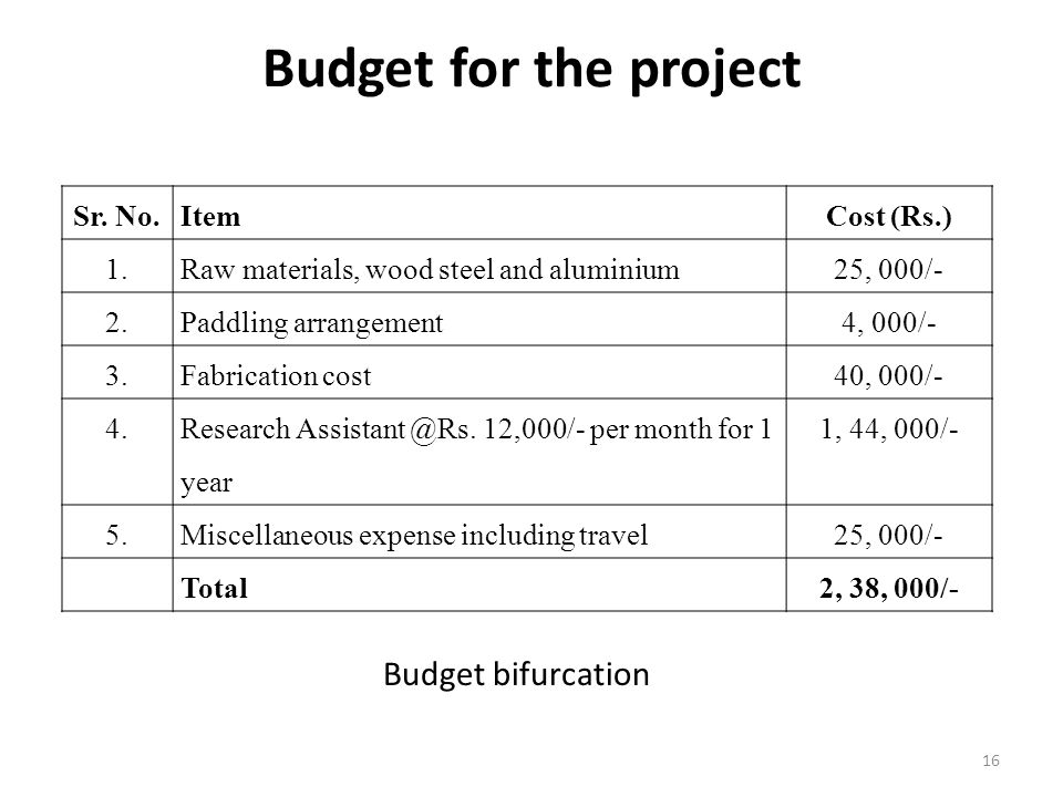 Budget for the project Budget bifurcation Sr. No. Item Cost (Rs.) 1.