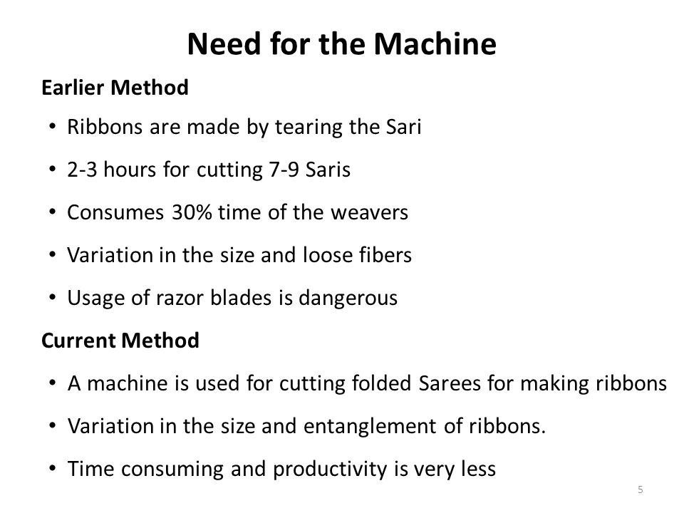Need for the Machine Earlier Method