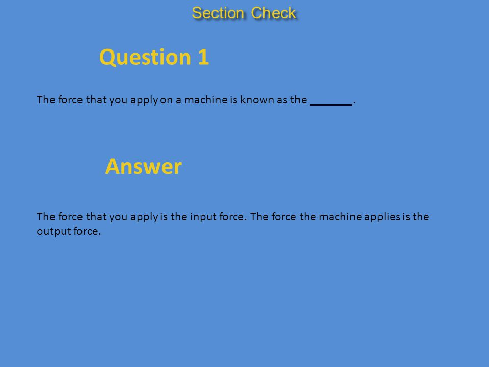 Question 1 Answer Section Check