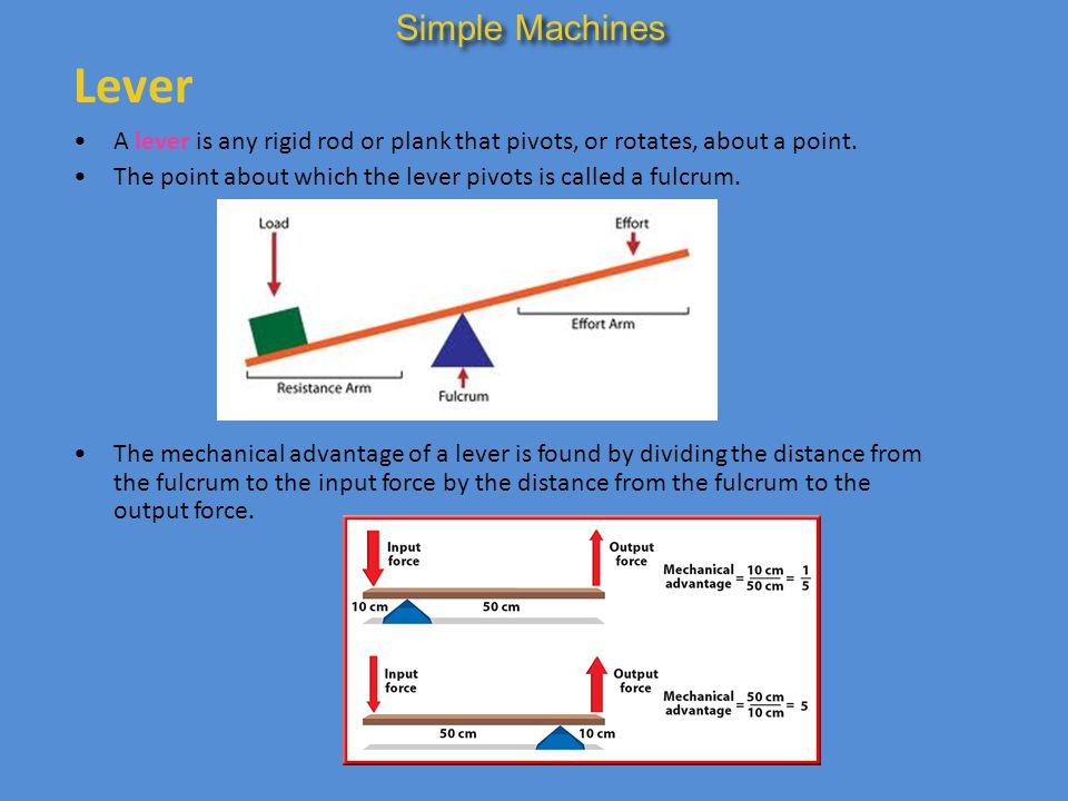 Simple Machines Lever. A lever is any rigid rod or plank that pivots, or rotates, about a point.