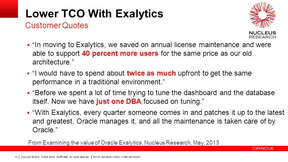 Lower TCO With Exalytics