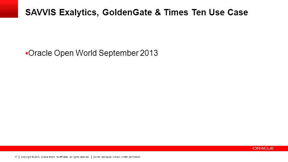 SAVVIS Exalytics, GoldenGate & Times Ten Use Case