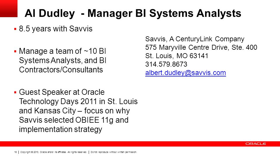 Al Dudley - Manager BI Systems Analysts