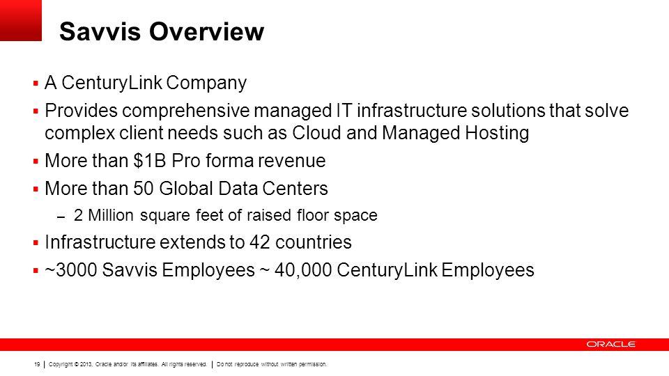 Savvis Overview A CenturyLink Company