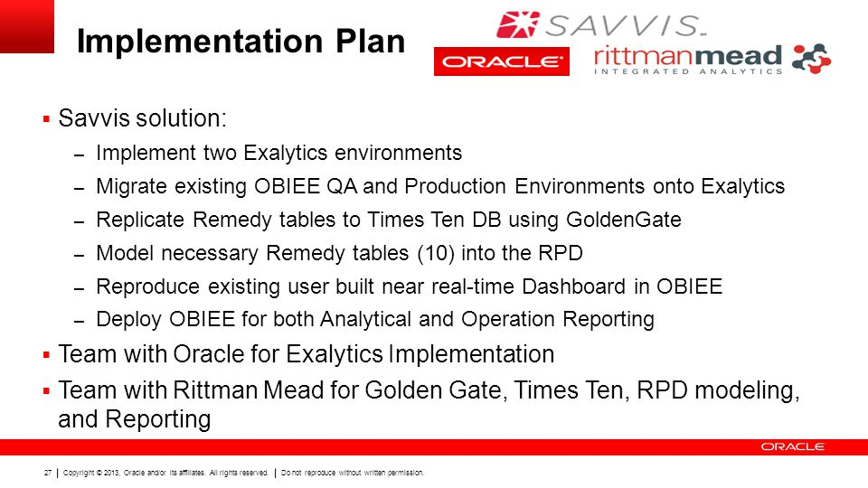 Implementation Plan Savvis solution: