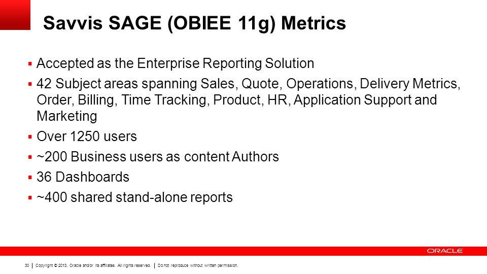 Savvis SAGE (OBIEE 11g) Metrics