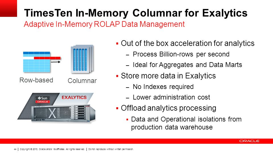 TimesTen In-Memory Columnar for Exalytics