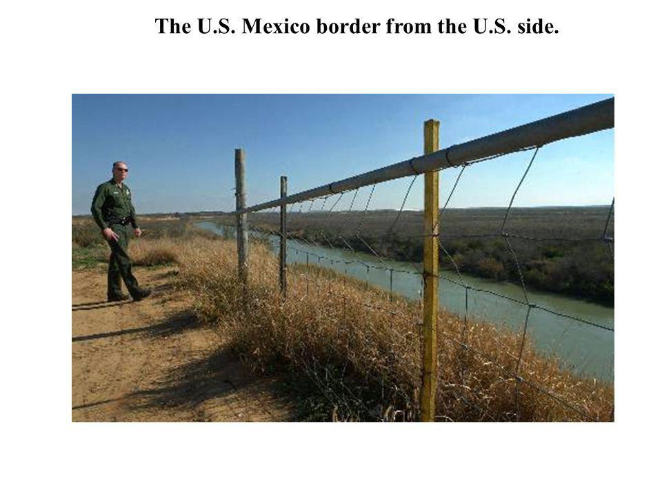 The U.S. Mexico border from the U.S. side.