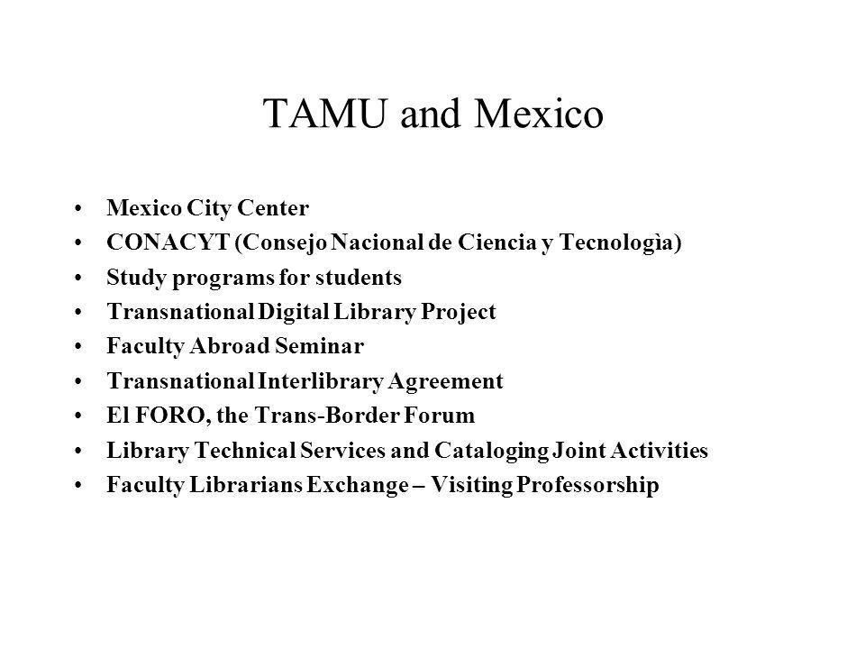 TAMU and Mexico Mexico City Center