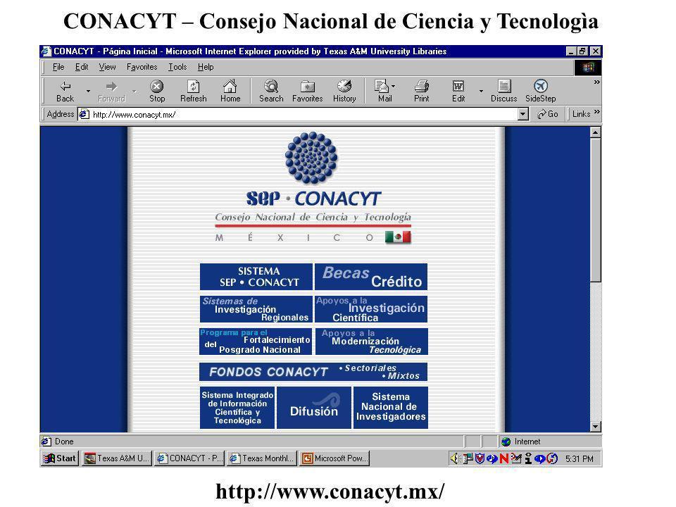 CONACYT – Consejo Nacional de Ciencia y Tecnologìa