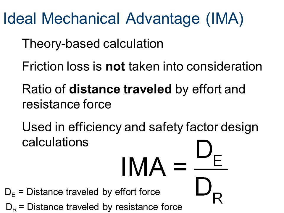 Ideal Mechanical Advantage (IMA)