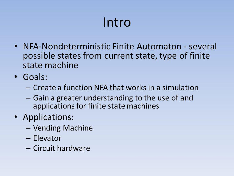 Intro NFA-Nondeterministic Finite Automaton - several possible states from current state, type of finite state machine.