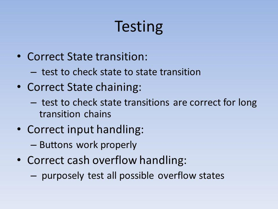 Testing Correct State transition: Correct State chaining:
