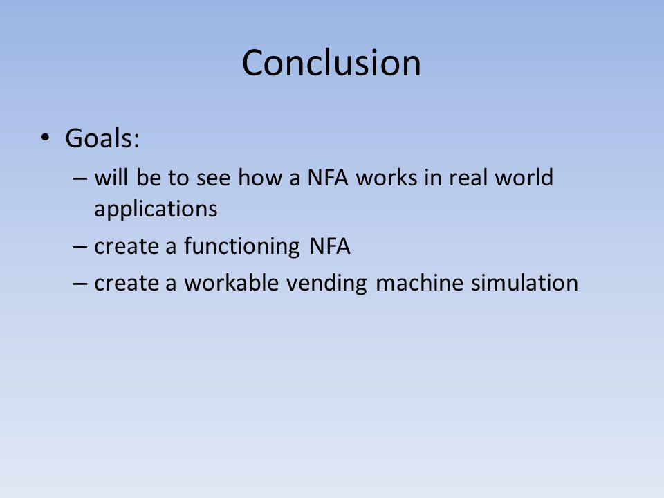 Conclusion Goals: will be to see how a NFA works in real world applications. create a functioning NFA.