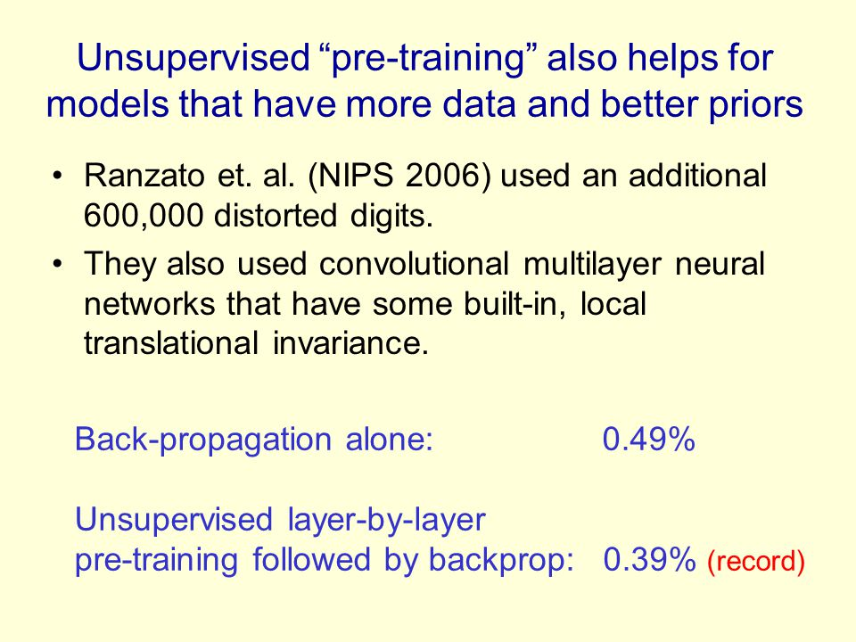 Unsupervised pre-training also helps for models that have more data and better priors
