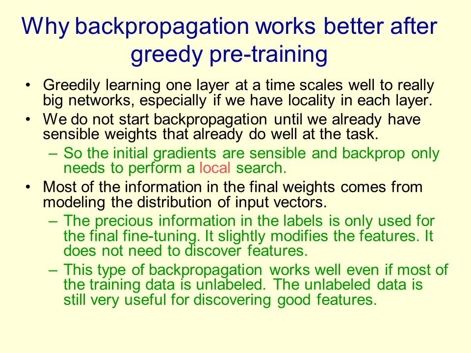 Why backpropagation works better after greedy pre-training