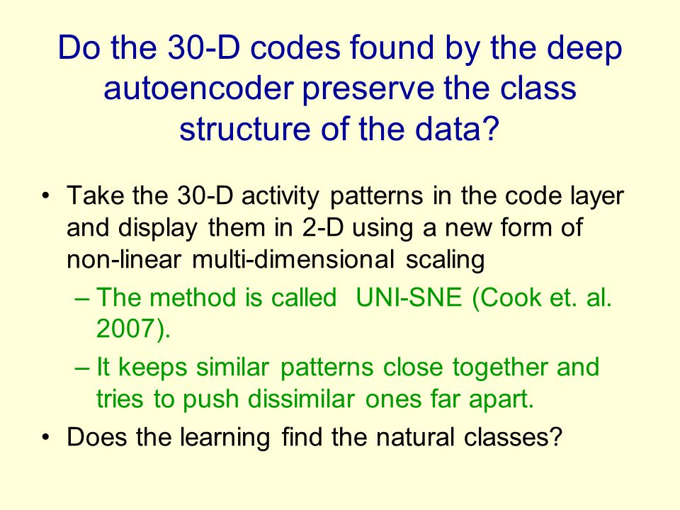Do the 30-D codes found by the deep autoencoder preserve the class structure of the data