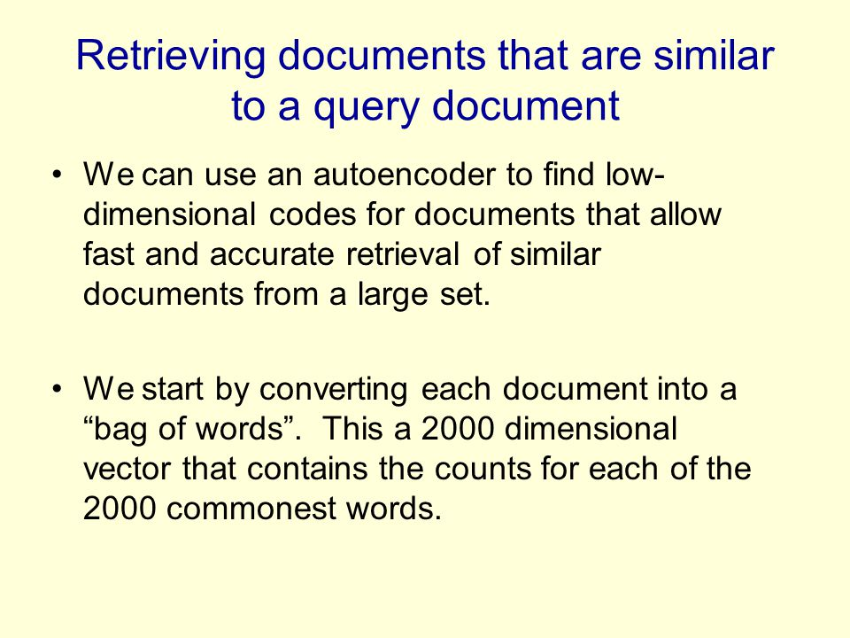 Retrieving documents that are similar to a query document
