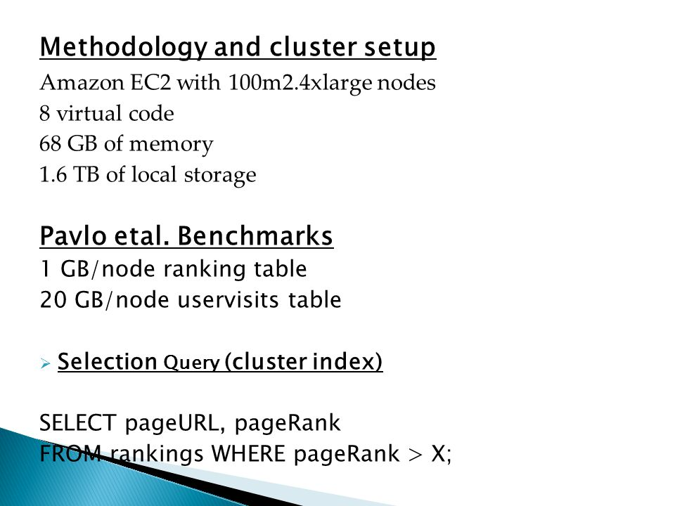 Methodology and cluster setup