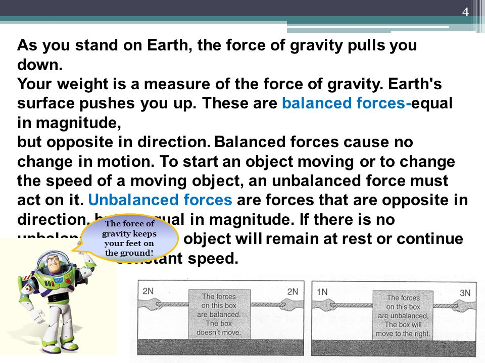 The force of gravity keeps your feet on the ground!